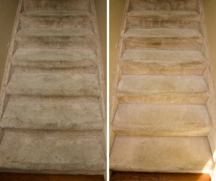 before and after carpet cleaning stairs in Merced CA