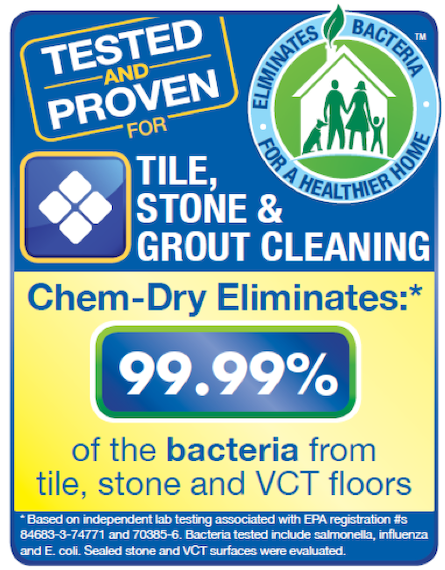 A+ Chem-Dry removes 98.6% of bacteria from stone, tile and grout in Merced CA